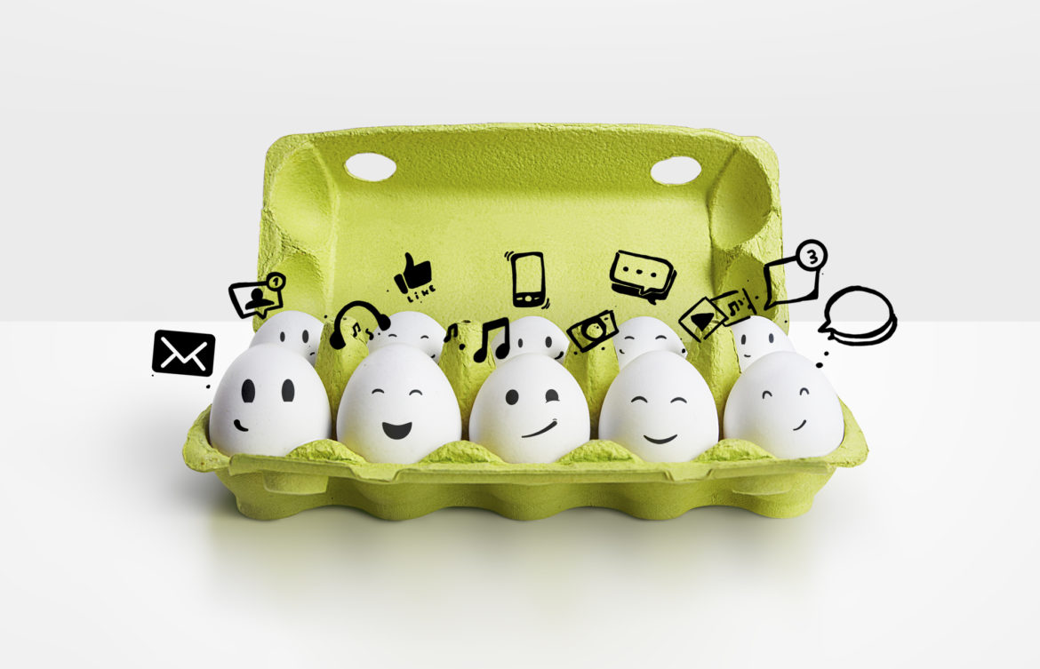 eggs thinking about social media engagement
