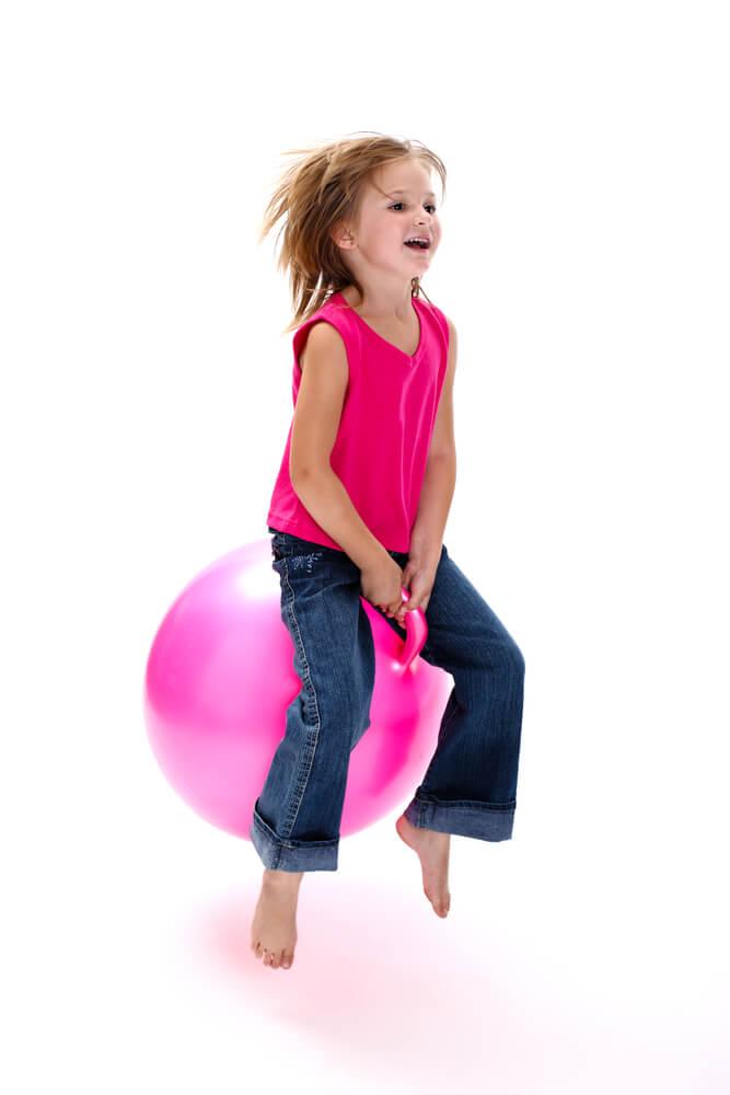 girl on bouncing ball
